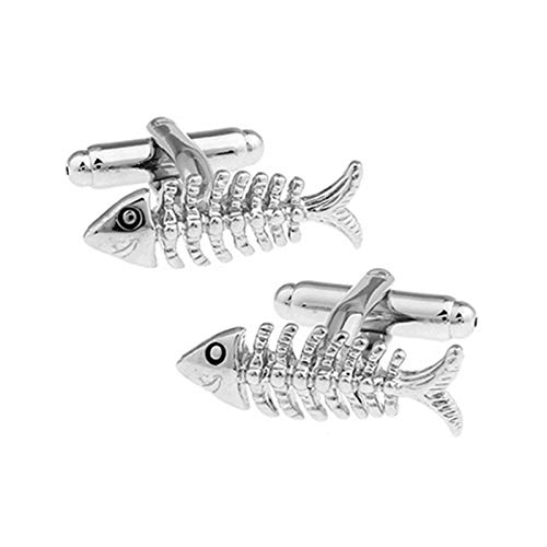KnBoB Herren Manschettenknöpfe Fisch Knochen Silber Manschettenknöpfe Mode Manschettenknöpfe Hemden Geschenk Box