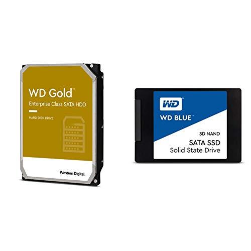 Western Digital 4TB WD Gold Enterprise Class Internal Hard Drive & Digital 1TB WD Blue 3D NAND Internal PC SSD - SATA III 6 Gb/s, 2.5'/7mm, Up to 560 MB/s - WDS100T2B0A