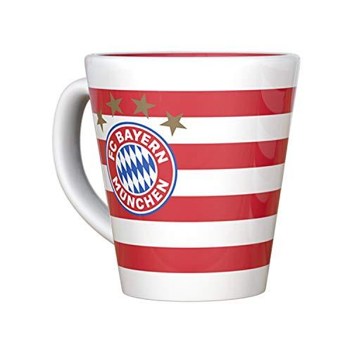 Bayern München Tasse - Stripes mit Meistersternen - Kaffeetasse, Pott kompatibel FCB - Plus Lesezeichen I Love München