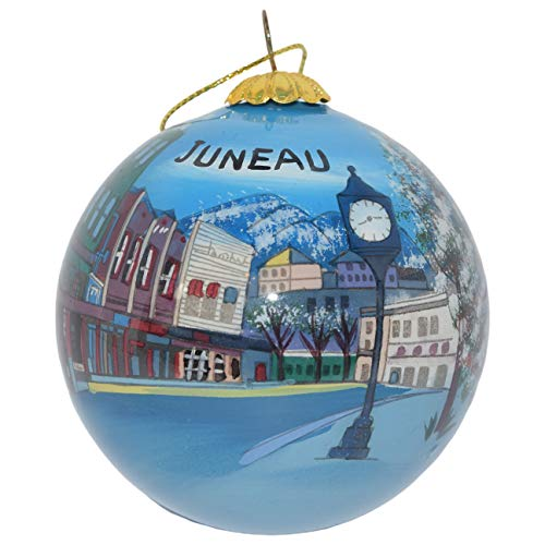 Art Studio Company Hand Painted Glass Christmas Ornament - Town Juneau, Alaska