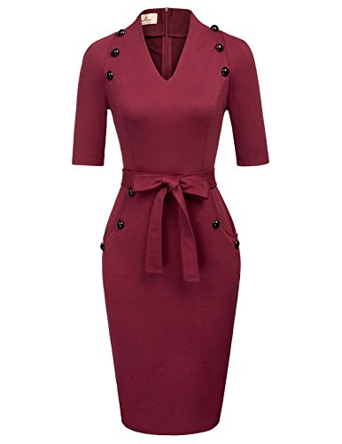 GRACE KARIN Women Work Belted Mini Pencil Dress Plus Size for Adult XXL Wine Red