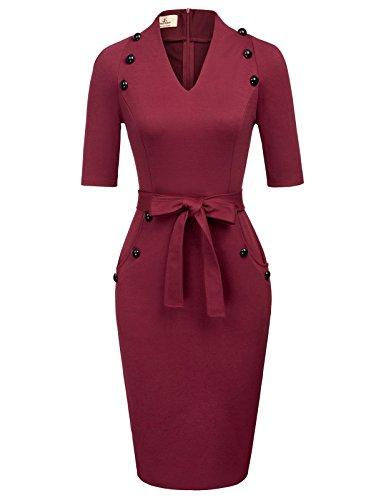 GRACE KARIN Burgundy Kleid 1950 Kleider rockerbilly Vintage Kleid Hochzeit büro Kleid M CL466-2