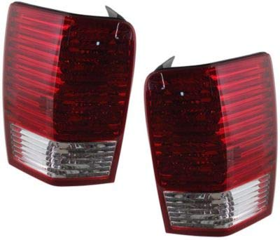 Tail Light Lens and Housing Compatible with 2007-2009 Chrysler Aspen Halogen Clear & Red Lens Set of 2 Passenger and Driver Side