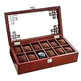 Ayanx - Armario de madera para reloj con tapa de cristal para 12 relojes y joyas, caja de...