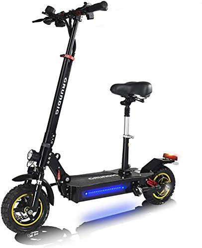 Patinete Eléctrico Plegable 500W 45 km/h con Sillín Acolchado Luces E-Scooter para Adultos Ruedas de 10 Pulgadas Display LED Control de Crucero, 3 Velocidades, Freno de Disco [EU Stock]