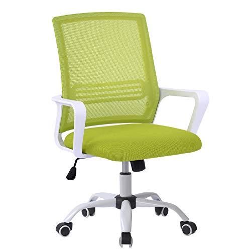 Bürostuhl, Ergonomischer Stuhl,Bürostuhl Ergonomisch Höhenverstellbarer Drehstuhl mit Wippfunktion Armlehne, Bürostuhl 150 kg,Computer Stuhl, Schreibstuhl für Büro & Home-Office, in Grün (grau)