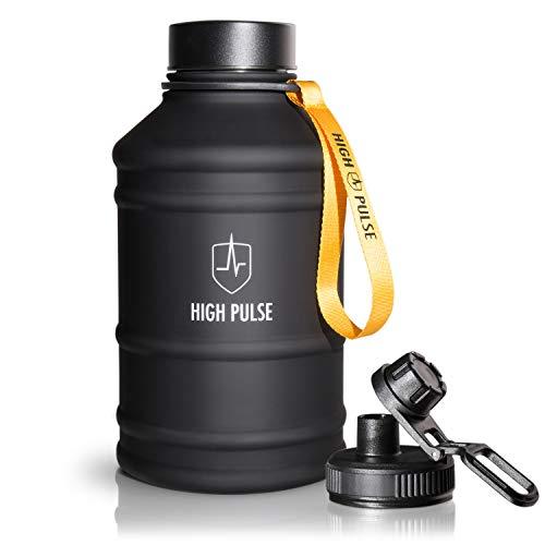 High Pulse Borraccia 2,2l in Acciaio Inossidabile con Tappo (2,2 l) - Borraccia Sportiva XXL per Il Tuo Allenamento e potenziamento Outdoor – 100% Senza BPA (Nero)