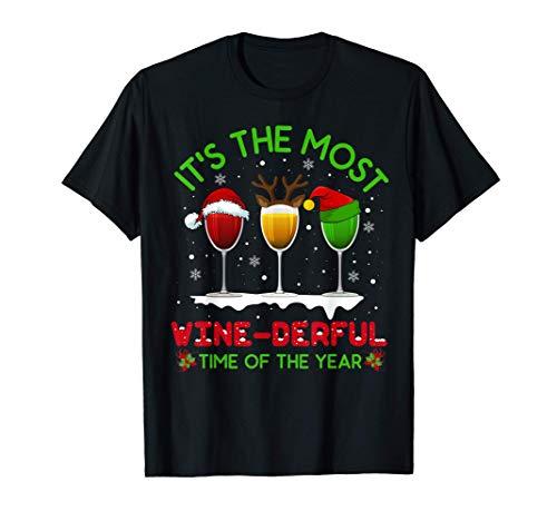 Christmas Wine Shirt Xmas Alcohol Pajama PJ Tops For Women T-Shirt