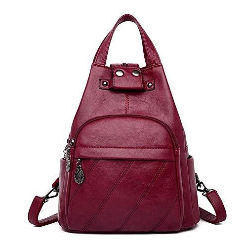 No-logo Ladies Backpack Multi-pocket Waterproof Anti-theft Backpack Large Capacity Travel Backpack Ladies Work School Travel Leisure (Color : C)