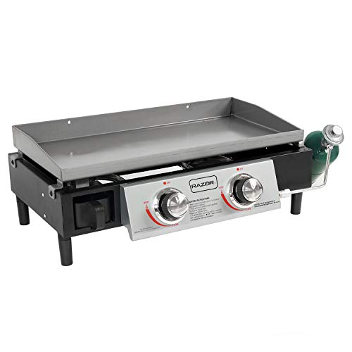 Razor Griddle GGT2130M 25 Inch Outdoor 2 Burner Portable LP Propane Gas Grill Griddle with 318 Square Inch for BBQ Cooking and Frying, Black (Steel) Grills Propane