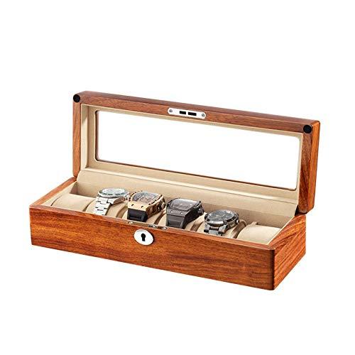 GLXLSBZ Caja de Reloj de 6 Ranuras, Organizador de Reloj, con Tapa de Vidrio, Almohada de Reloj extraíble, Forro de Terciopelo con Llaves para Almacenamiento y exhibición (Color: Blanco)