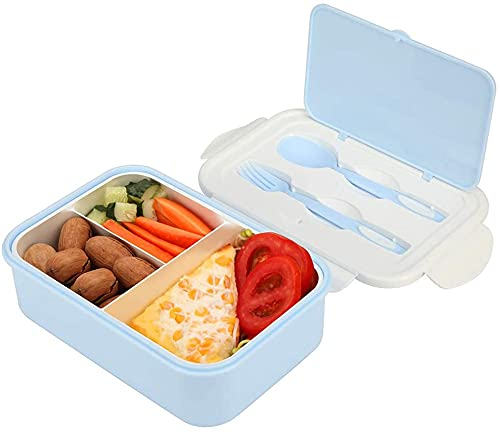 OldPAPA Lunch Box,Borsa Termica Piccola con 3 vaschette Forchetta per Adulti Bento Boxes, con Cucchiaio forchetta microonde lavastoviglie Sicuro Senza ruggine