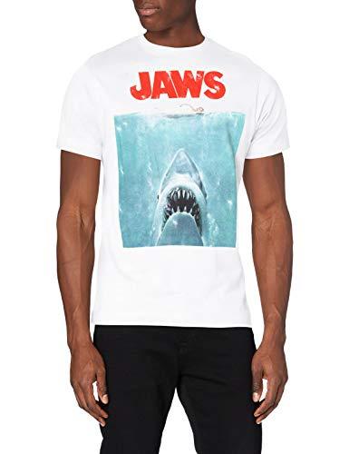 Jaws Movie Poster Camiseta, Blanco (White White), XL para Hombre