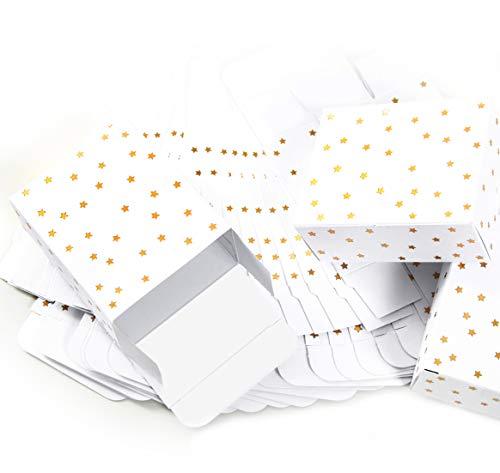 AFVERKOOP 24 kleine witte mini-kerstcadeaudozen met gouden sterren 10 x 4 x 8 cm - geschenkdozen kerstverpakking voor kerstgeschenken, doosjes voor adventskalender