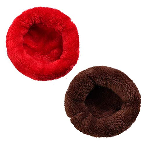 QMYS zacht pluche huisdier bed winter kleine dierlijke kooi mat Guinea varken hamster slapende huis bank knuffel ronde kussen nest draagbare donut kalmerende warme pad hut indoor thermische, Diameter 7.87 (in), Big red + coffee