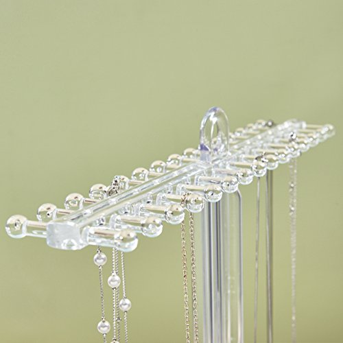 Clear Plastic Necklace Holder with 30 Individual Pegs and Divided Jewelry Tray