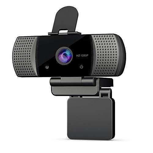 docooler Webcam Full HD 1080P con Microfono,con treppiede Webcam Cover USB 2.0 Videocamera per Videochiamate, per Compatibile con Windows/OS/Android/Supporta PC/Laptop/Desktop/Android TV