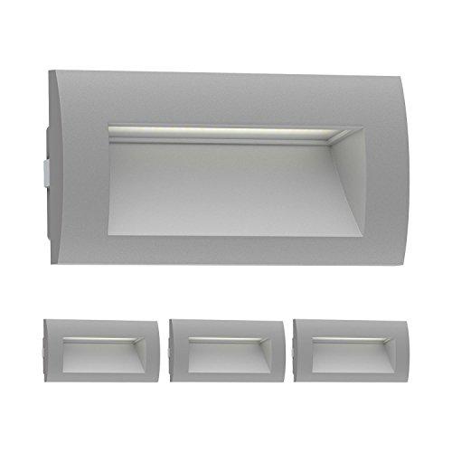 ledscom.de LED Lampada da Incasso a Parete Zibal da Esterno, Grigio, Bianca Calda, 140x70mm, 4 PZ