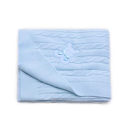 PEKITAS Manta Punto Hilo Bebe 100 x 100 cm 100% Acrílico Ecológico Fabricado En Portugal Azul