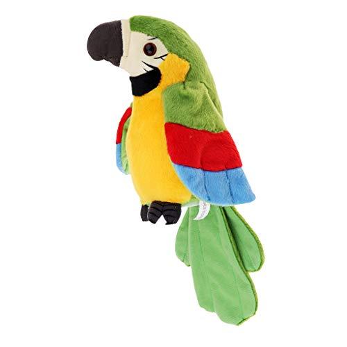 Perfeclan Plüsch Papagei Spielzeug Sprechender Plüsch-Papagei mit Mikrofon, spricht nach und läuft, 22 cm - Grün