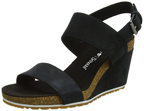 Timberland Capri Sunset Wedge, Sandalias para Mujer, Negro (Black Full Grain), 39 EU