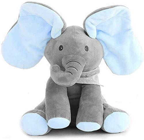 Linarun Peek-A-Boo Musik Plüsch Elefant Singender Sprechender Plüschelefant Weichpuppe Spielzeug Geschenke für Baby Kleinkinder Puppe Kuscheltier