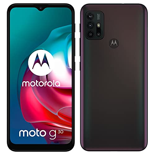 """Motorola moto g30 (6,5""""-Display, 64-MP-Kamera, 4/128 GB, 5000 mAh, Dual-SIM, Android 11) Dark Pearl, inkl. Schutzcover"""