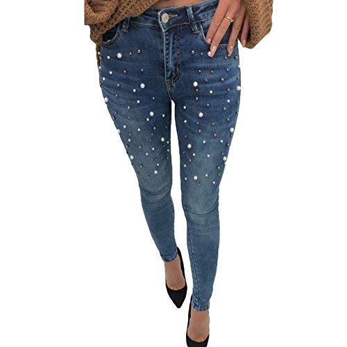 Juleya Skinny Jeans für Damen Frau - Mode Perlen Slim Stretch Push Up Hüfte Bleistift Hose Mittlere Taille Denim Röhrenjeans Jeanshose Schwarz/Blau 26-30