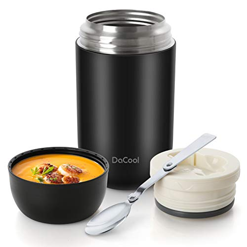 DaCool Hot Food Jar 24 oz Insulated Lunch Container Keep Food Hot Cold Warm Stainless Steel Vacuum Hot Food for Adult Women Man Lunchbox Leak Proof Wide Mouth for Office Picnic Outdoors - Black