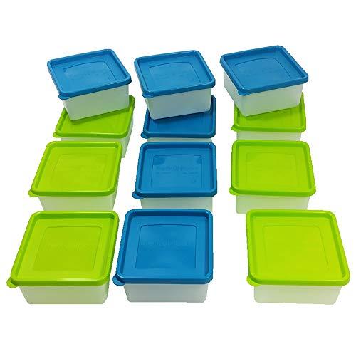 12 oder 6 Stück Tiefkühldosen inkl. Gefrieretiketten Gefrierdosen zum Einfrieren - Frischhaltedosen stapelbar - Vorratsdosen zum Einfrieren und Auftauen - Mikrowellendosen - 0,5 Liter - 0,7 Liter - 1,0 Liter - 1,2 Liter (12 x 0,5 Liter)