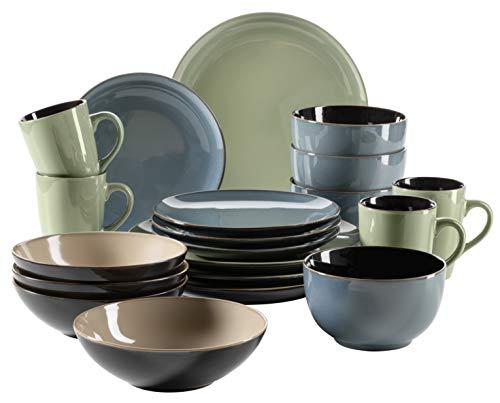 MÄSER 931465 Serie Scuro, Geschirr-Set bunt aus Keramik für 4 Personen, 20-teiliges Kombiservice, modern und mediterran, Grün/Blau/Beige, Steinzeug