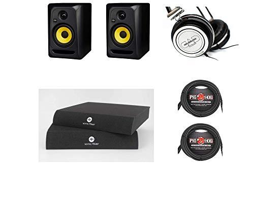 KRK Classic 5 pares de monitores com almofadas de isolamento de fibra sônica, cabo XLR de 38 cm, fones de ouvido MH100