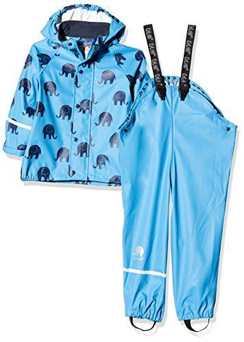CeLaVi Jungen Zweiteiliger Regenanzug mit Elefanten Druck und in vielen Farben Regenjacke, Blau (Blue 728), (Herstellergröße:120)