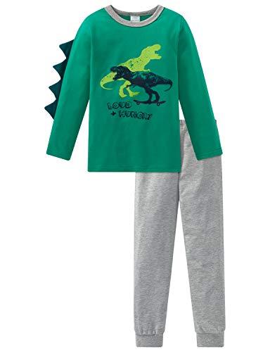 Schiesser Jungen Supersaurus Kn Anzug lang Zweiteiliger Schlafanzug, Grün (Grün 700), 92 (Herstellergröße: 092)