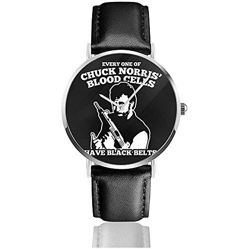Chuck Norris Blood Cells Zitat Uhren Quarz Lederuhr mit schwarzem Lederband für Sammlung Geschenk