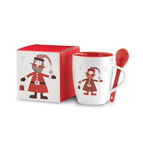 eBuyGB 2013439 Cuchara, Fiesta Festiva de Navidad, Tazas de café de Cocina casera, Taza de té, cerámica