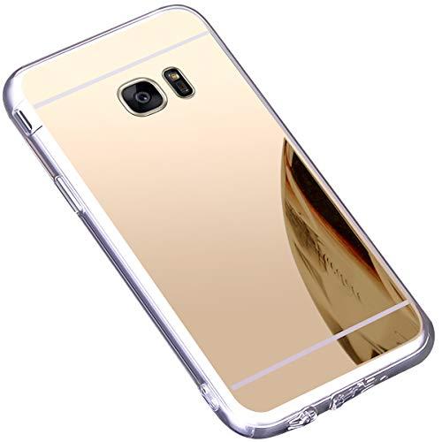 JAWSEU Compatible avec Samsung Galaxy S7 Edge Coque Miroir Silicone,Cristal Brillant Bling Glitter Miroir Housse de Protection Slim Souple Gel Paillettes Strass Case pour Femme Fille,Or