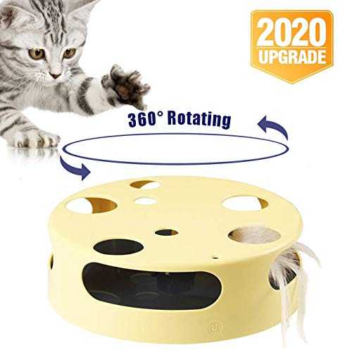 Interactive Cat Toy, Cat Training Exercise Funny Play Toys Rotating Feather...