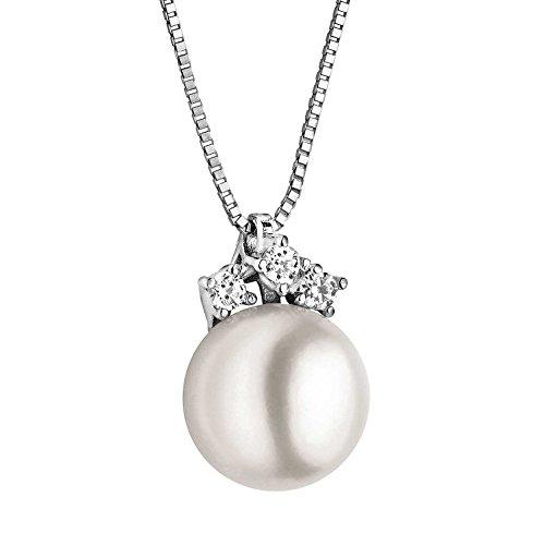 Collana Da Donna Di Comete In Oro Bianco E Una Perla elegante cod. GLP 385