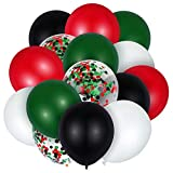 60 Pieces New Year Party Balloons, 12 Inch Red White Green Confetti Latex Balloons Lumberjack Woodland Forest Party Decorations Favors