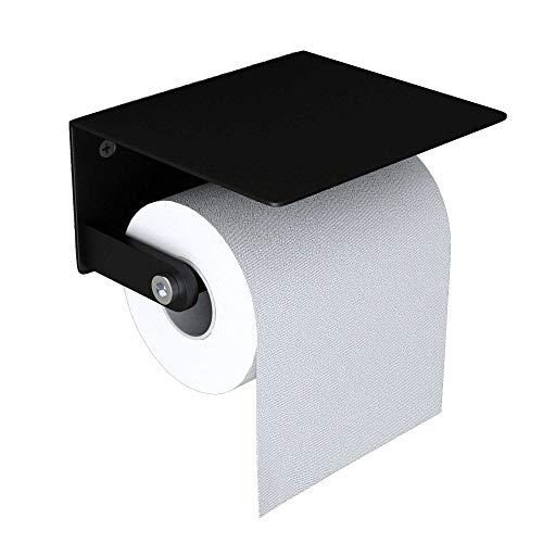 doporro WC-Papierhalter Schwarz matt aus Edelstahl Papierrollenhalter mit Ablage Wandmontage