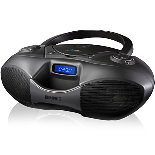 Duronic RCD6200 Bluetooth CD Player Boombox Black, Radio, Flash memory MP3 Playback, and Connect and play via AUX socket/Bluetooth from your iPhone/iPod/Mobile phone/MP3 Player