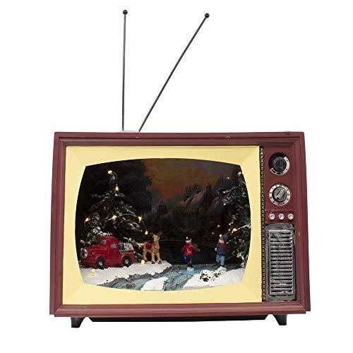 Kurt S. Adler Kurt Adler 9-Inch Battery-Operated Light-Up TV with Christmas Scene and Moving Skaters Table Piece, Multi