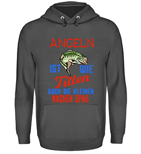 Angler T-Shirt |Angeln ist wie Titten, auch die kleinen Machen Spaß| Geschenk - Unisex Kapuzenpullover Hoodie -L-Stahlgrau