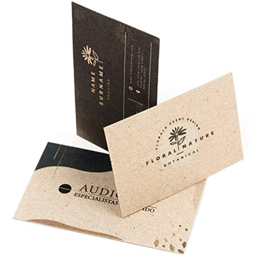 250 Tarjetas de visita personalizadas impresas doble cara, premium, cartón reciclado grueso 450 g, papel kraft premium, vintage y originales, 55x85 mm