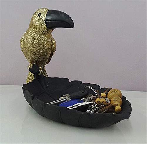 QYL Key Schmuck Storage Box Toucan Harz Ornamente American Home Accessoires Wohnzimmer TV Schrank Veranda,Schwarz