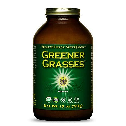 HealthForce SuperFoods Greener Grasses Alkalizer - 10 oz - Vegan Greens Powder, Superfood Complex - Great Source of Fiber, Promotes Healthy Gut - Gluten Free - 71 Servings