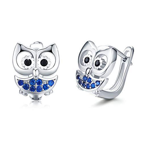 Ohrringe Eule Mädchen Creolen 925 Sterling Silber Eulen Kleine Creolen Ohrringe für Kinder Durchmesser 10,5 mm Klappcreolen mit Blau Zirkonia für Damen