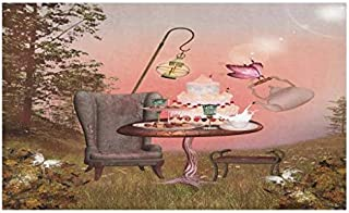 """Lunarable Surrealistic Doormat, Birthday Alice in Wonderland with Cake Butterfly in Forest Cartoon Art, Decorative Polyester Floor Mat with Non-Skid Backing, 30"""" X 18"""", Pale Coral"""
