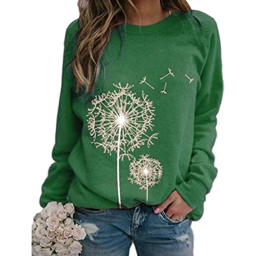 Therlop Sudadera para mujer, cuello redondo, sudadera informal de flores, suelta, manga larga, suéter de otoño, casual, túnica, verde, M